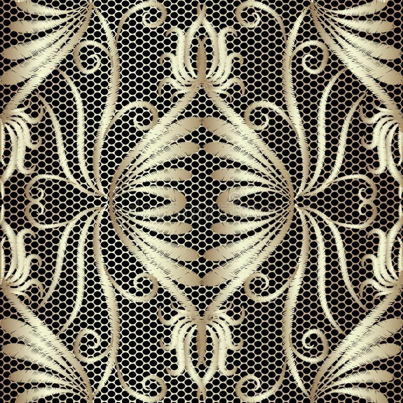 Lace textured vintage floral embroidery seamless pattern. Vector tapestry gold Damask background. Grunge repeat lacy backdrop. vector illustration