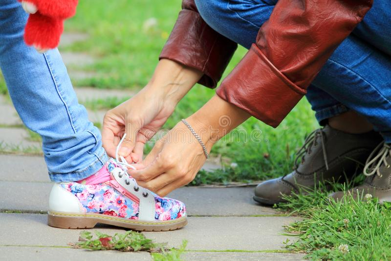 Lace up a shoe stock photography