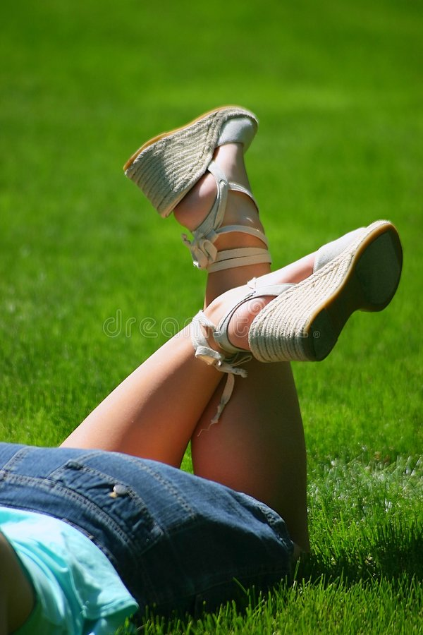 Free Lace-up Summer Sandles In Field Royalty Free Stock Images - 166759