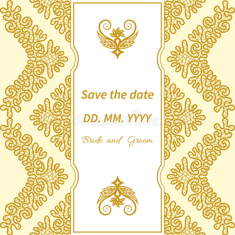 Lace Vologodskie. Template wedding invitations and cards with decorative Vologda lace royalty free illustration