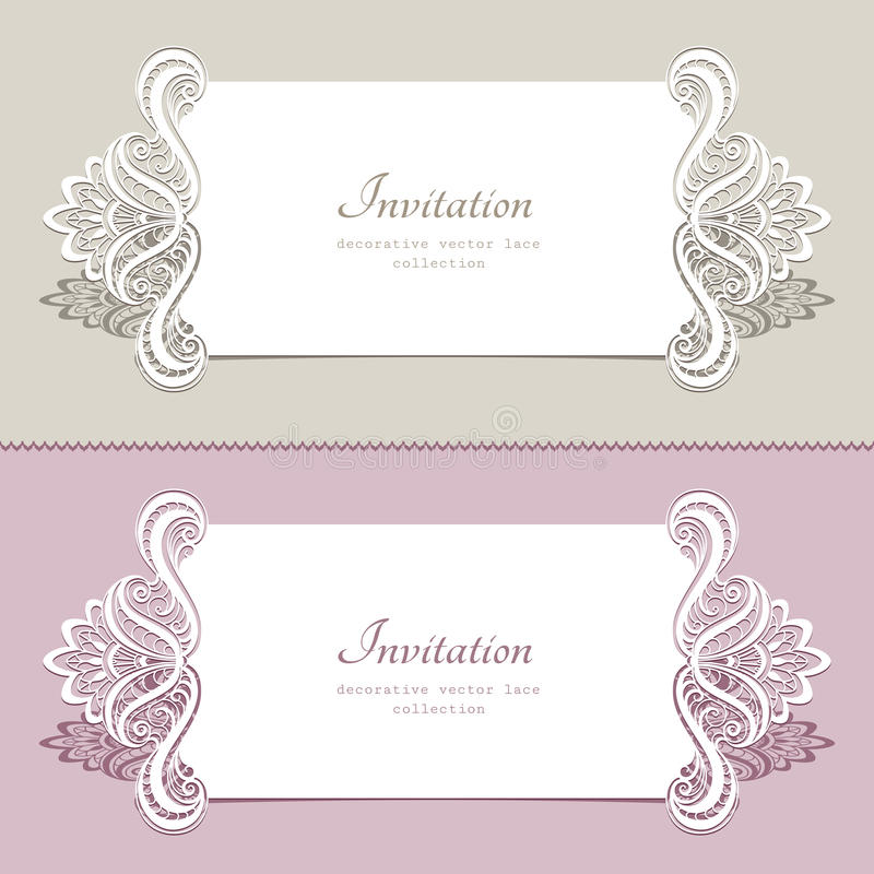 Lace wedding cards. Elegant lace cards, wedding invitation or announcement template royalty free illustration
