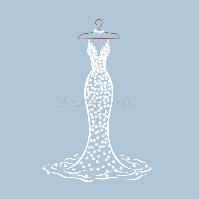 Free Lace Wedding Dress On A Hanger Stock Photos - 221305113