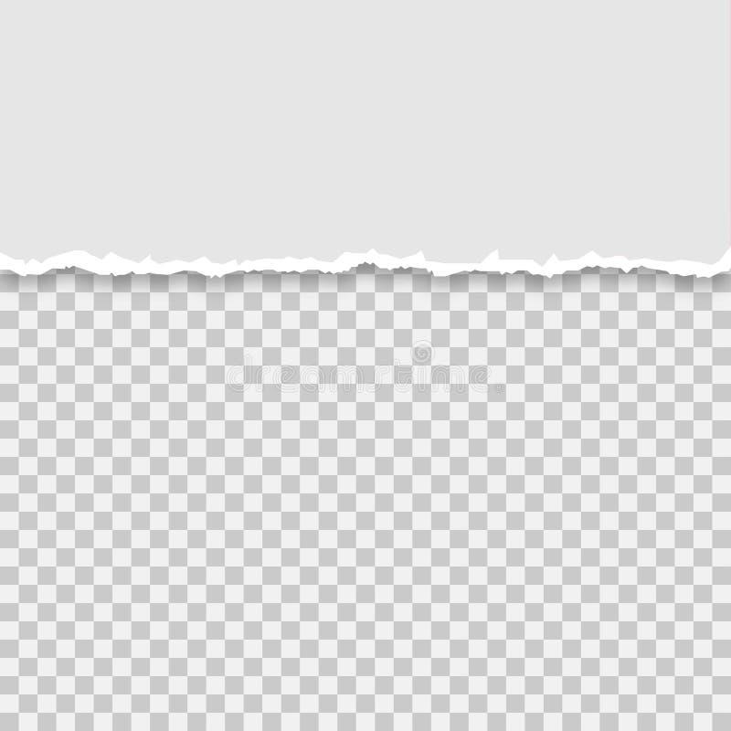 Lacerato un mezzo foglio di carta grigia, illustrazione di vettore illustrazione di stock