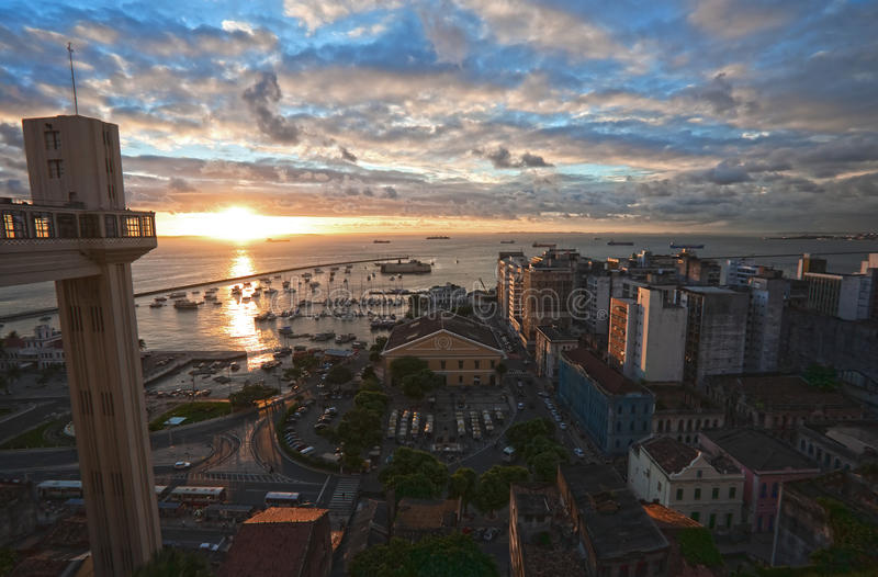 Lacerda Elevator and Model Market in Historic Centre.in salvador. View from he top of the elevator at the sunset of the harbour and mercado modelo in the royalty free stock photography