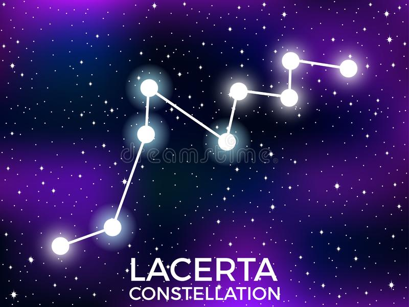 Lacerta constellation. Starry night sky. Zodiac sign. Cluster of stars and galaxies. Deep space. Vector. Illustration royalty free illustration