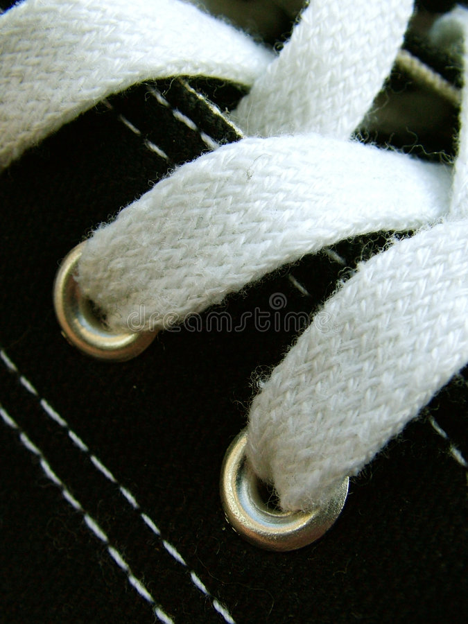 Laces. Macro of baseball boot laces royalty free stock images