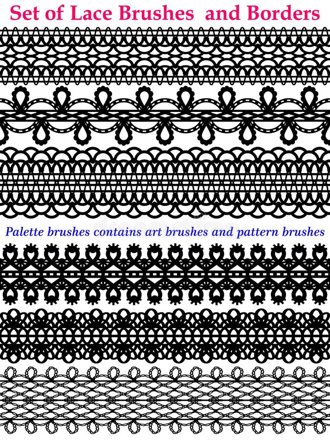 Laces brushes and Borders set on white royalty free illustration