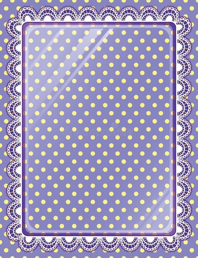 Lacez le cadre avec le verre sur les points de polka de fond illustration libre de droits