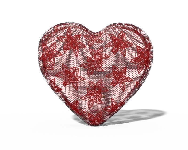 Lacez le coeur avec le modèle de fleur sur le fond blanc avec l'ombre illustration de vecteur
