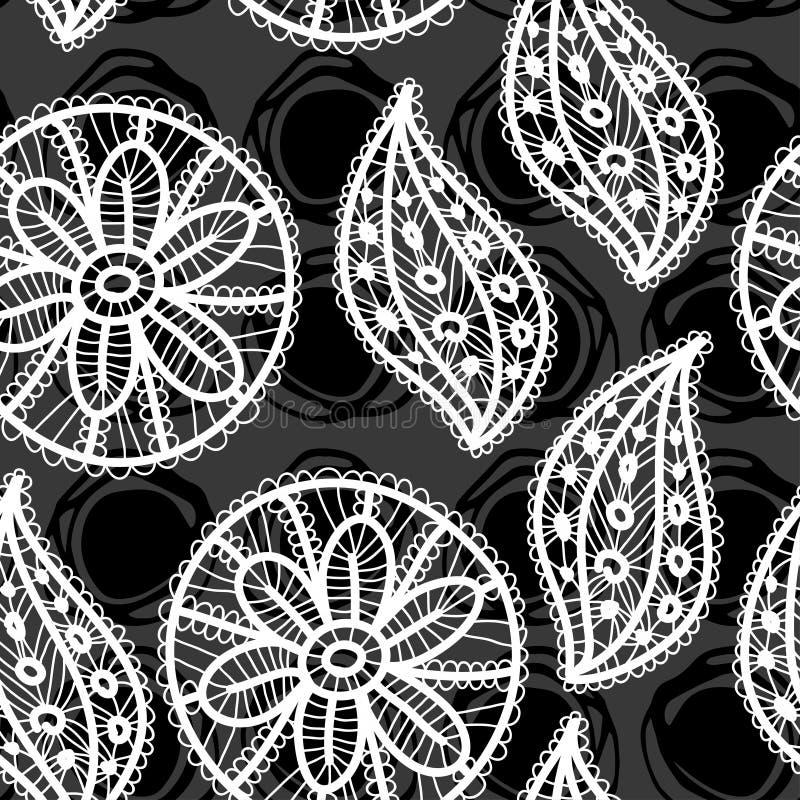 Lacez le modèle sans couture avec des fleurs et des feuilles sur le fond noir illustration stock