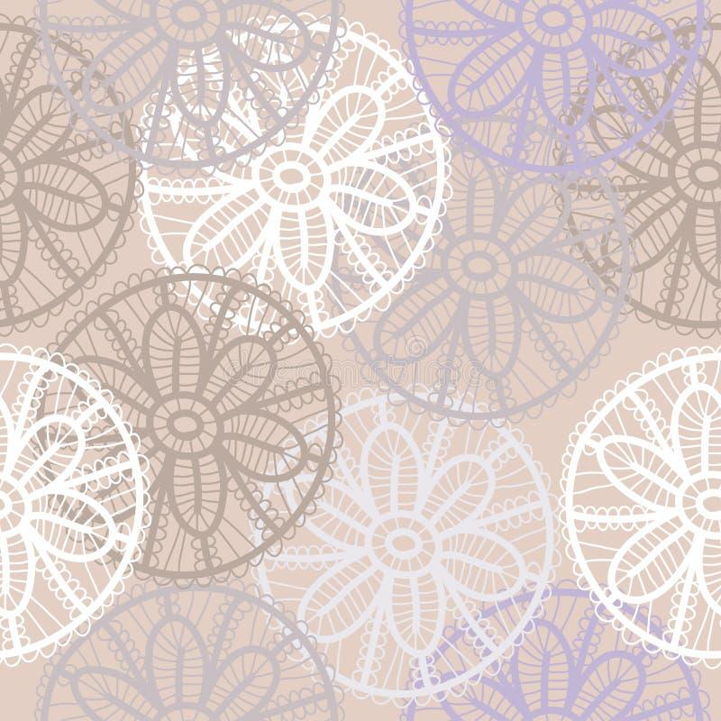 Lacez le modèle sans couture avec des fleurs sur le fond beige Seul arbre congelé illustration de vecteur