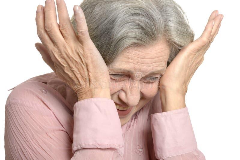 Lachende ältere Frau lizenzfreies stockbild