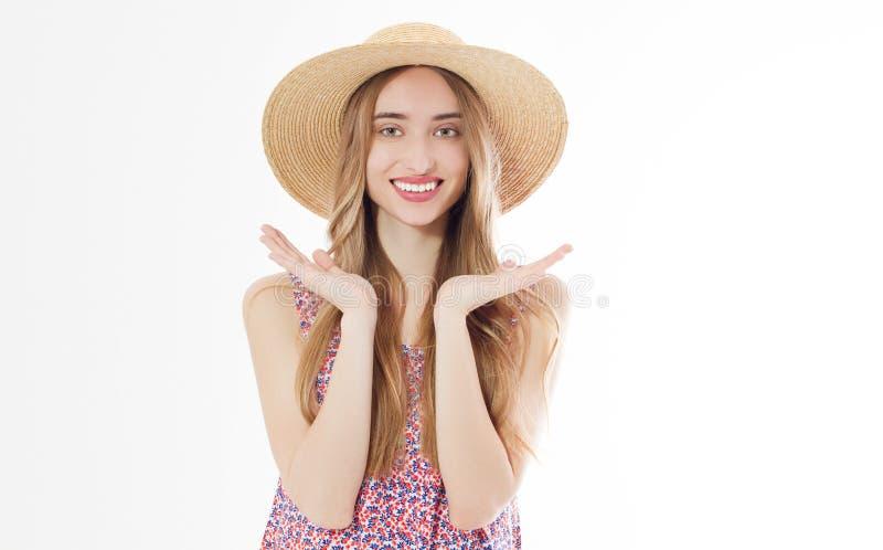 Lachende blonde vrouw in de zomerhoed Mooi wit meisje royalty-vrije stock afbeeldingen