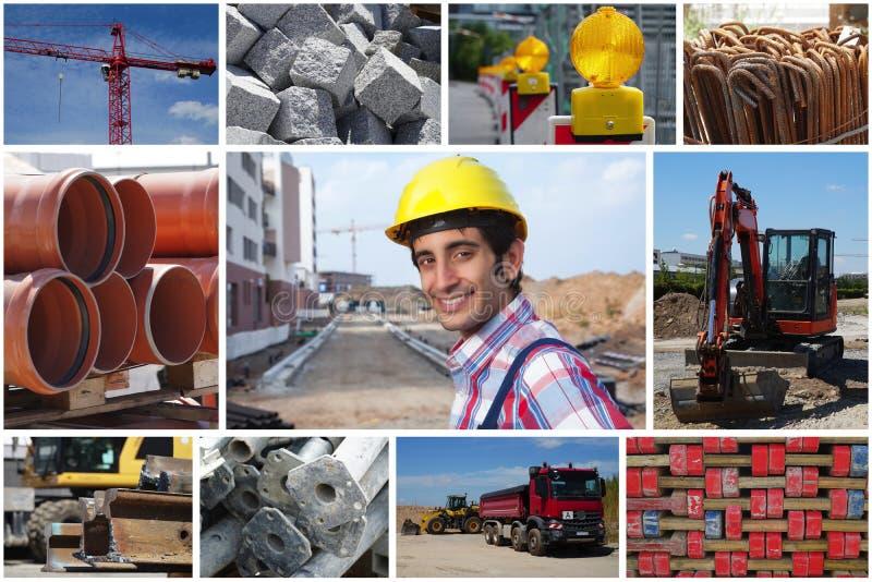 Lachende bouwvakker met bouwwerffoto's stock foto's
