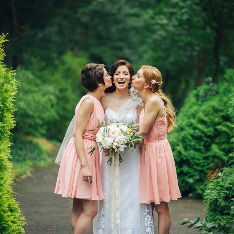 Lachende Braut und Brautjungfern erzählen die lustigen Geschichten, die im Park stehen lizenzfreie stockfotografie