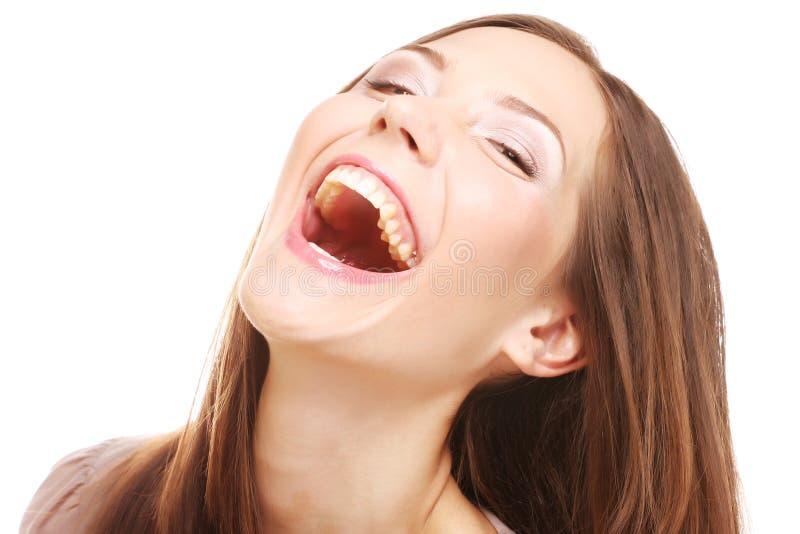 Lachende Frau. Abschluss oben. lizenzfreies stockfoto