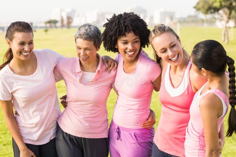 Lachende Frauen, die Rosa für Brustkrebs tragen lizenzfreies stockbild
