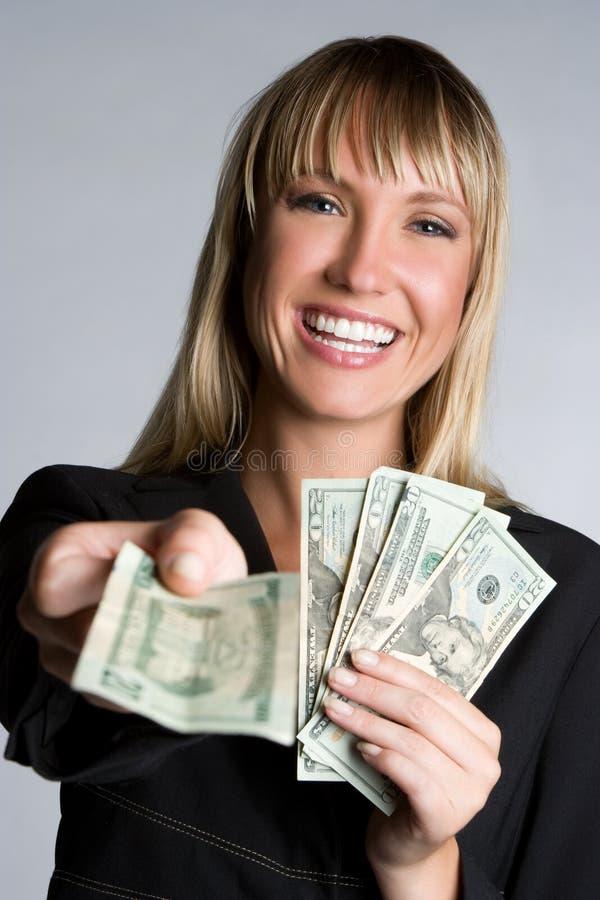 Lachende Geld-Geschäftsfrau stockfotos