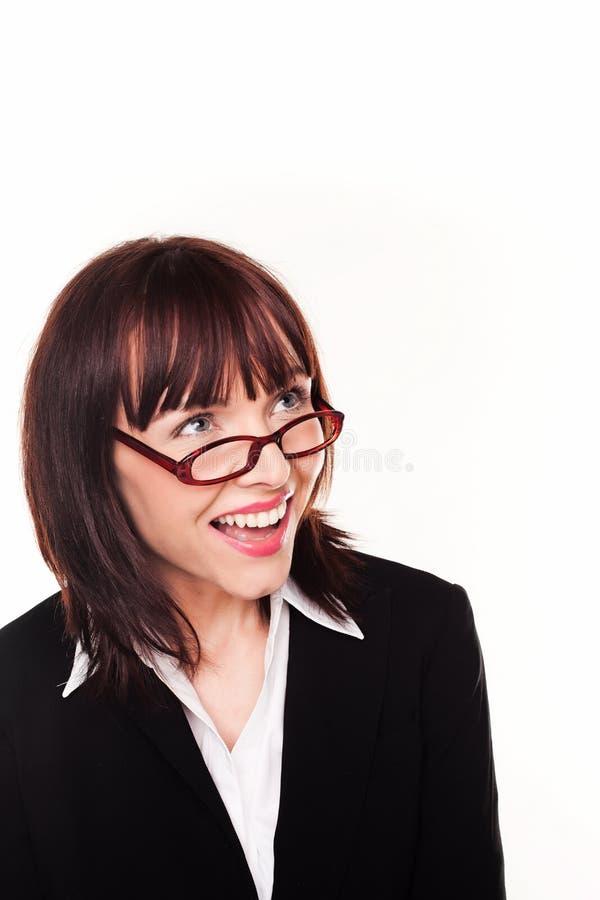 Lachende Geschäftsfrau-tragende Schauspiele stockbilder