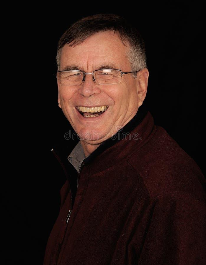 Lachende Oude Mens stock foto