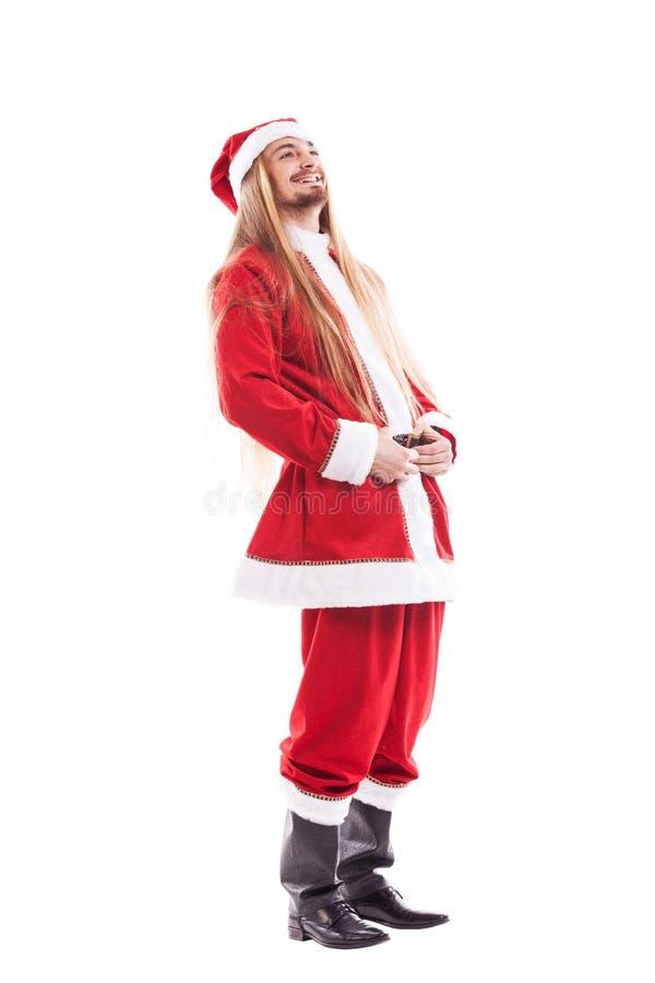 Lachende positieve Santa Claus met lang haar stock fotografie