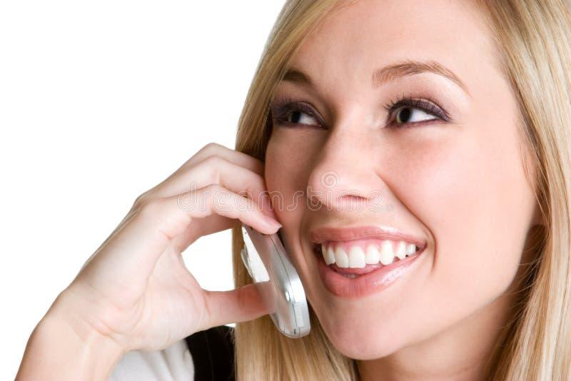 Lachende Vrouw op Telefoon royalty-vrije stock afbeeldingen
