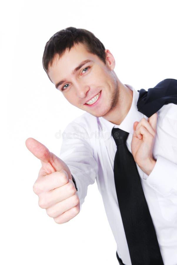 Lachender Geschäftsmann - Thumbs-up stockfoto