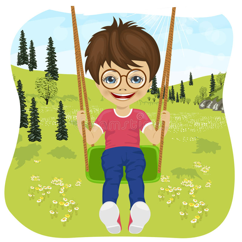 Lachender kleiner Junge mit den Gläsern, die auf ein Schwingen im Sommer fahren, parken lizenzfreie abbildung