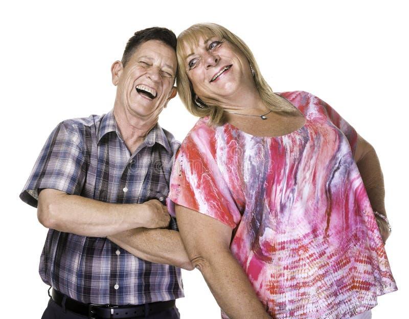 Lachender Transgender-Mann und Frau lizenzfreie stockbilder