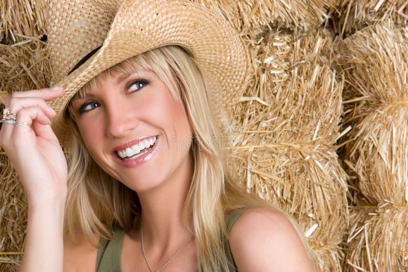 Lachendes Cowgirl stockbild