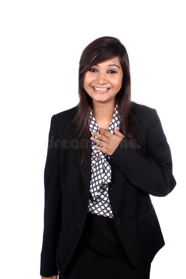 Lachendes indisches Busineswoman stockfoto