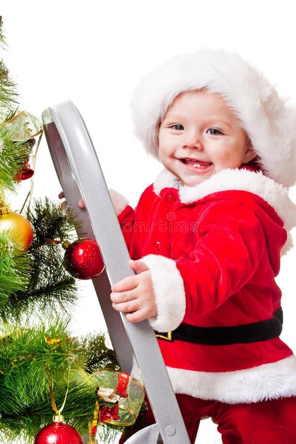 Lachendes Kleinkind auf Jobsteppstrichleiter stockbild