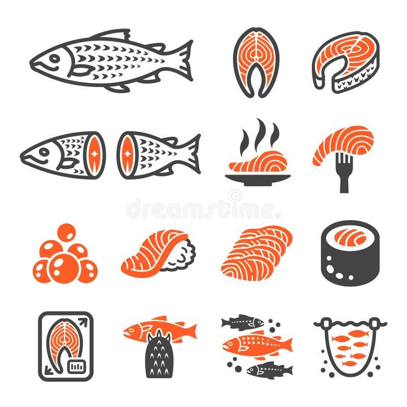 Lachsfisch- und Produktikonensatz lizenzfreie abbildung