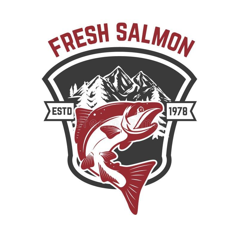 Lachsfischen Lachse auf Hintergrund mit Bergen Gestaltungselement für Logo, Aufkleber, Emblem, Zeichen stock abbildung