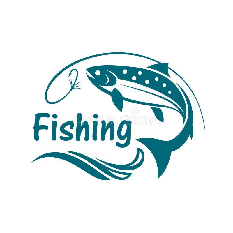 Lachsfischenemblem lizenzfreie abbildung