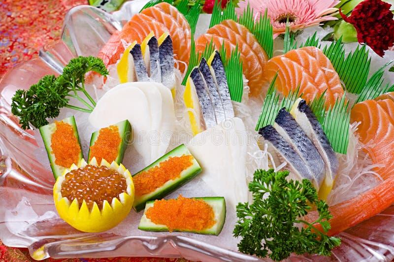 Lachsfischsashimi stockbild