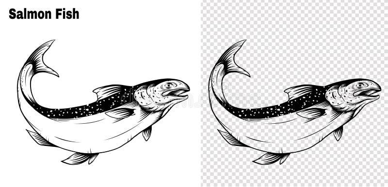 Lachskunst in hohem Grade einzeln aufgeführt in der Linie Kunstart Fische vector eigenhändig zeichnen stock abbildung
