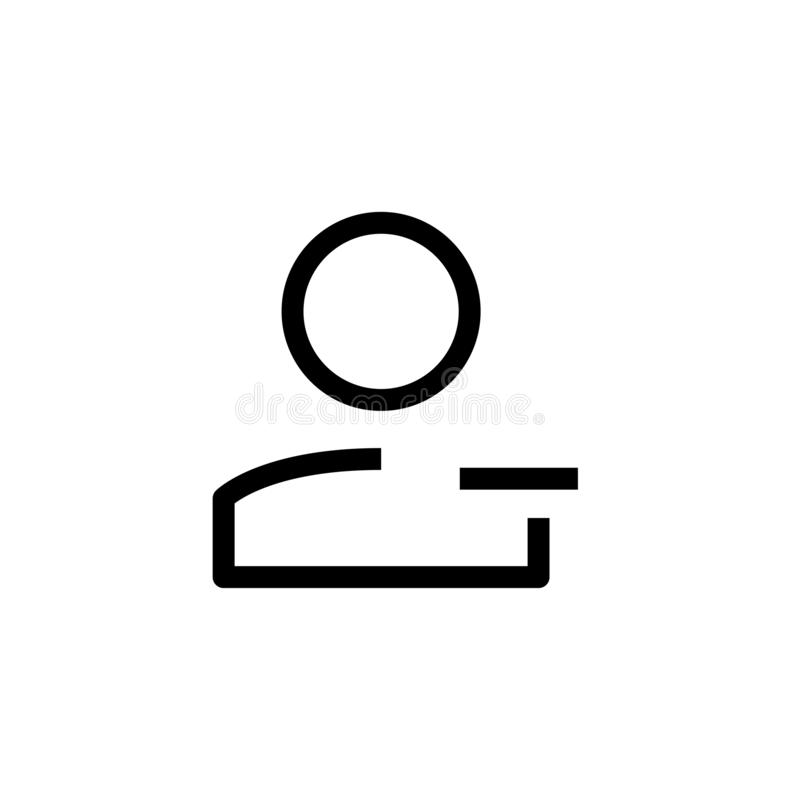 Lack of employee icon design. person worker with minus symbol. simple clean line art professional business management concept. Vector illustration design. eps vector illustration