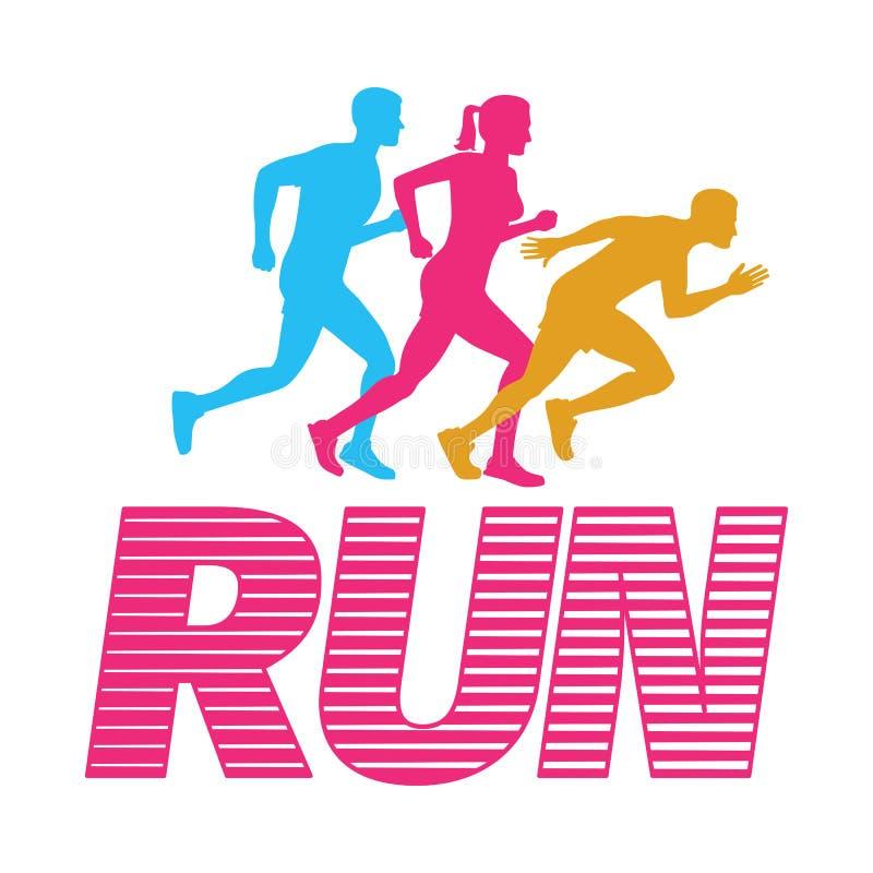 lack-läufer Schattenbilder von laufenden Männern und von Frau auf Weiß stock abbildung