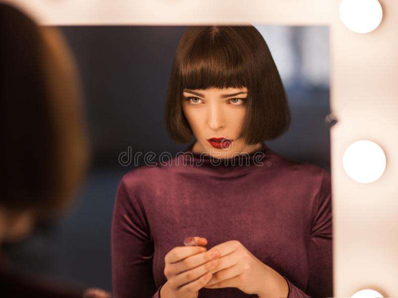 Lack of self-esteem. Confused young woman royalty free stock photos