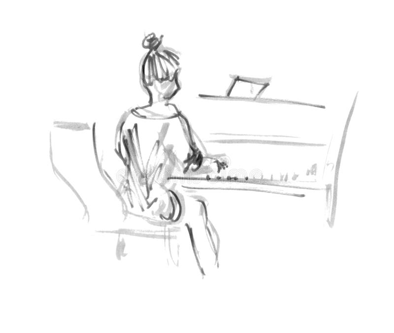 Black-white sketch woman from the back playing piano - quick freehand sketch illustration gray liner stock illustration