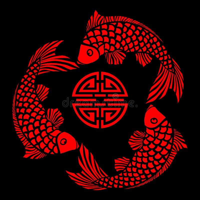 Lackfliese mit Fischauslegung lizenzfreie abbildung