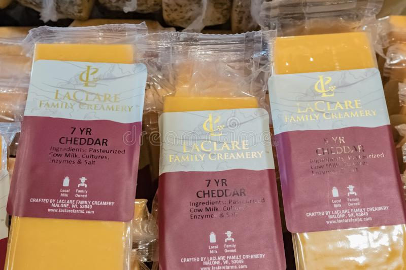 LaClare Family Creamery Cheddar. Illustrative editorial image of cheddar cheese from LaClare Family Creamery in Wisconsin stock photo