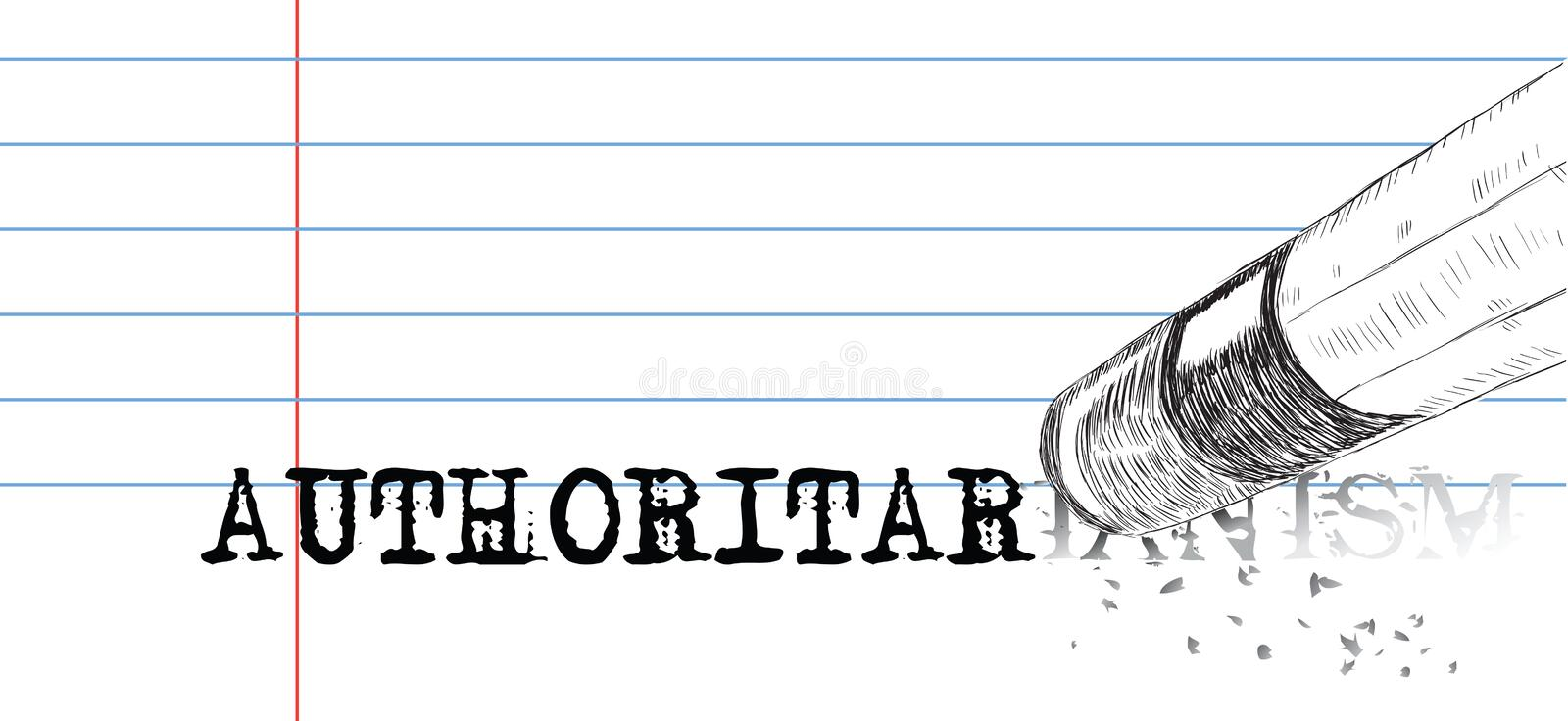Laconic poster about the negative notion of authoritarianism. A pencil with an eraser erases the word authoritarianism. Laconic poster on Authoritarianism vector illustration