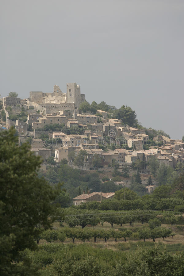 Lacoste village in Southeastern France. Lacoste is a commune in the Vaucluse department in the Provence-Alpes-Côte d`Azur region in southeastern France. Its stock photo