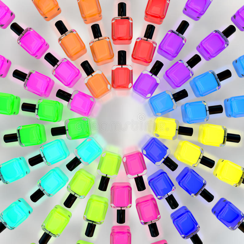 Lacquer nail polish colorful bottles circle on white royalty free illustration