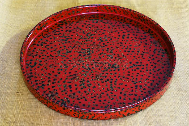 Lacquered tray. Japanese traditional crafts `Tsugaru lacquering` / Lacquered tray royalty free stock image
