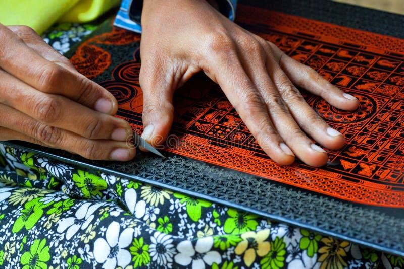 Lacquerware fabrik, Myanmar fotografering för bildbyråer