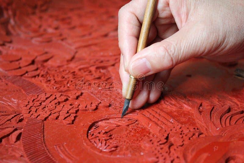 Lacquerwaregravure stock fotografie