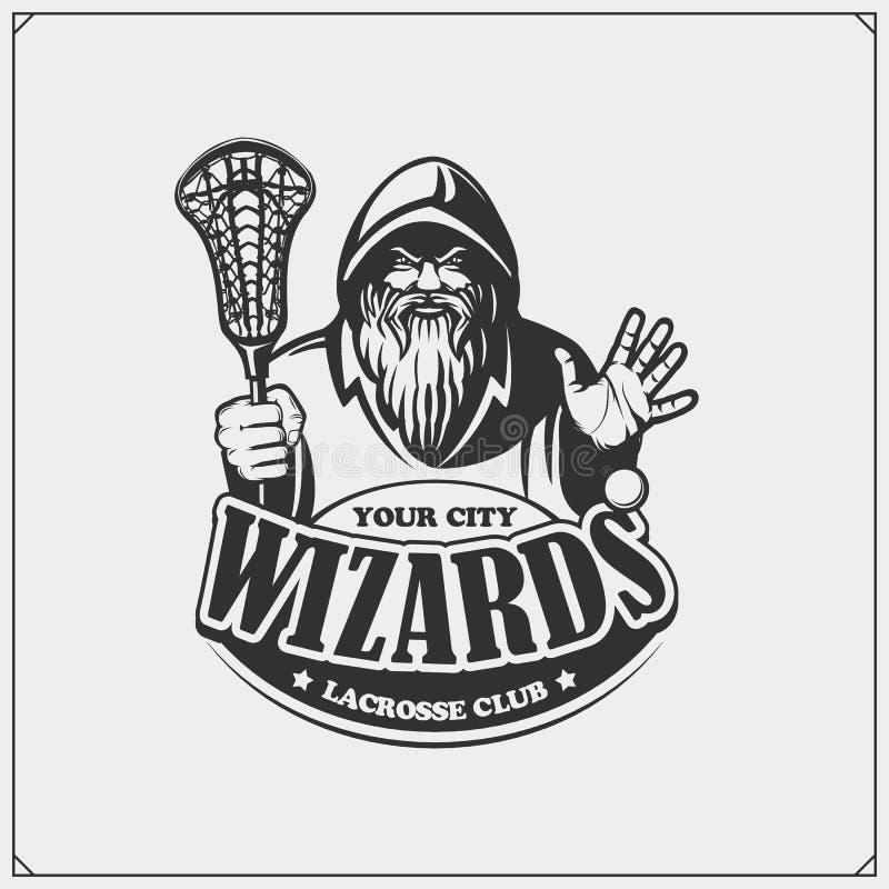 Lacrosse świetlicowy emblemat z czarownikiem lub magikiem Druku projekt dla koszulek ilustracja wektor